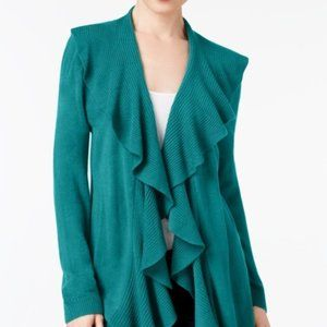 !~Teal Luxsoft Ruffled Knit Open Front Cardigan~!